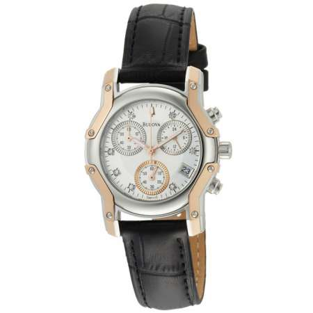 Bulova Women's Diamond Leather Watch